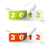 Vector 2011 0r 2012 new year stickers — Stock Vector