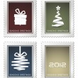 Stock Vector: Collection of old vector christmas postage stamps