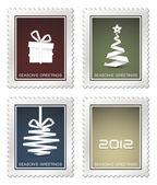 Collection of old vector christmas postage stamps — Stock Vector
