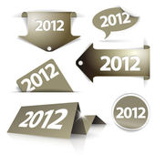 Vector golden 2012 Labels, stickers, pointers — Stock Vector