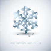 Vector copo de nieve de papel azul claro navidad — Vector de stock