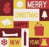 Vector Retro christmas card with various seasonal shapes — Stock Vector