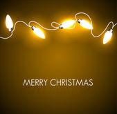 黄金色のライトとクリスマスの背景をベクトルします。 — ストックベクタ