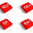 Foto Stock: Set of red buttons with text