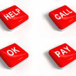 Stockfoto: Set of red buttons with text