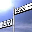 Right Decision, Wrong Decision Road Sign — Stock Photo