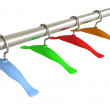Color hangers on clothes rail — Stock Photo