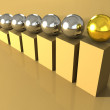 Golden and steel spheres — Stock Photo