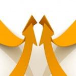 Orange arrows going up — Stock Photo