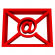 Email symbol in red envelope isolated on white — Stock Photo