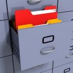 Information folder in office cabinet — Stock Photo