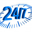 24 7 blue sign with clock — Stock Photo