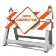 Under construction road sign barrier — Stock Photo