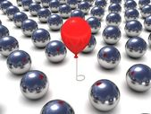 Red balloon in metal balls row.individuality concept — Stockfoto