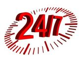24 7 red sign with clock — Stock Photo