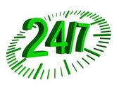 24 7 green sign with clock — Stock Photo