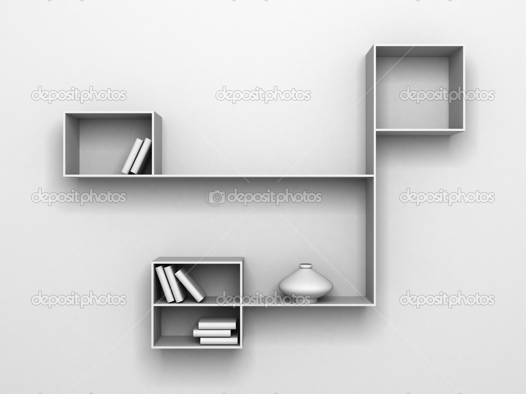 Modern Shelves On White Wall With Books And Vase Stock