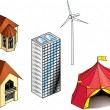 Royalty-Free Stock Vector Image: Houses, buildings and turbines architecture models collection