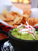 Guacamole, salsa and chips — Stock Photo