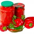 Stock Photo: Home canned vegetables in jars and peppers