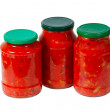 Home canned vegetables in jars — Stock Photo