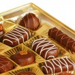 Chocolate candies in a box — Stock Photo