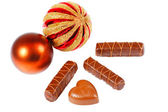 New Year's still life of chocolate candy — Stock Photo