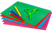 Colored paper, markers and scissors for creativity — Stock Photo