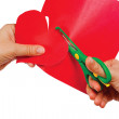 Creating red heart of colored paper — Stock Photo