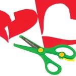 Broken red heart and scissors — Stock Photo