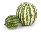 Big and small watermelon isolated on white — Stock Photo