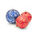 Traditional Christmas balls isolated on white — Stock Photo
