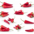 Set of red chili peppers isoleted on white — Stock Photo #7490938