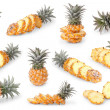 Постер, плакат: Set of baby pineapples isolated on white