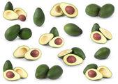 Conjunto de abacates isolado sobre o branco — Foto Stock