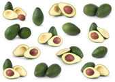 Uppsättning av avokado isolerade över vita — Stockfoto