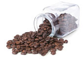 Coffee beans is scattered on a white background — Stock Photo