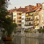 Medieval facades in Ljubljana old city centre — Stock Photo