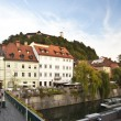 Panoramic view of medieval Ljubljana's city centre. — Stock Photo
