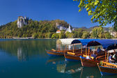 Traditional wooden boats in Bled — Stock Photo