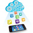Stock Vector: Vector smart phone applications and cloud computing