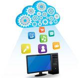 Vector desktop computer and cloud computing — Stock Vector