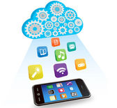 Vector smart phone applications and cloud computing — Vector de stock