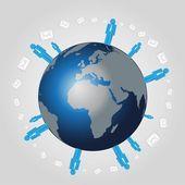Vektor Welt weiten Netz mit mail — Stockvektor