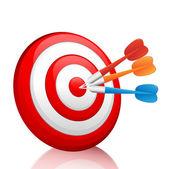 Vector colorful darts hitting a target — Stock Vector