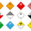 Hazardous goods signs - Stok Vektör