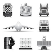 Shipping and cargo icons | B&W series — Stock Vector