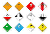 Hazardous goods signs — Stock Vector