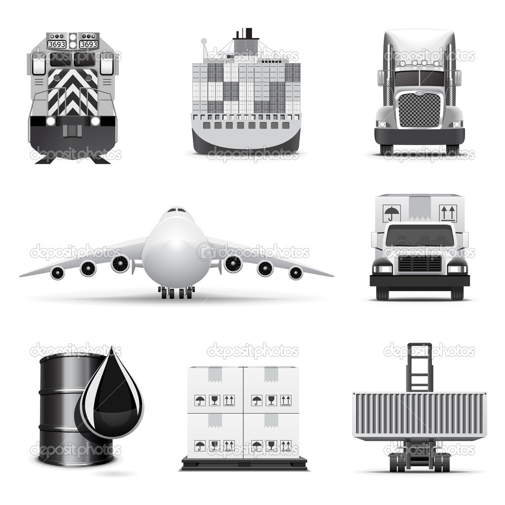Shipping and cargo icons | B&W series — Stock Vector #6943587