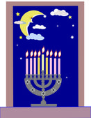 Dark blue background.Jewish religious holiday.Hanukkah. — Stock Photo